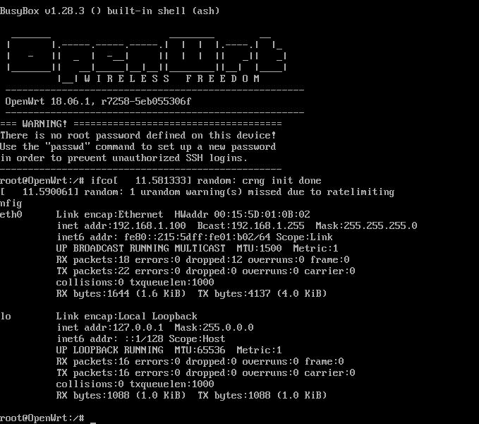 OpenWrt 18.06.1 x64 стабильный релиз для hyper-v